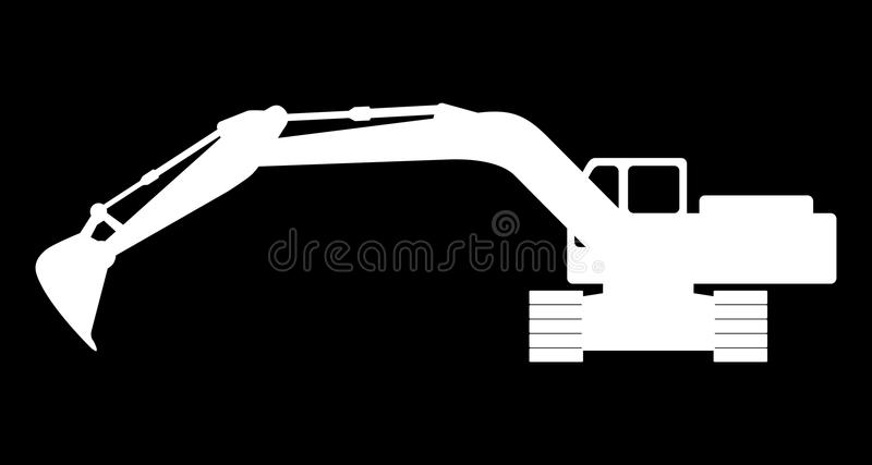 Silhouette the excavate. The silhouette of the excavate on a dark background stock illustration