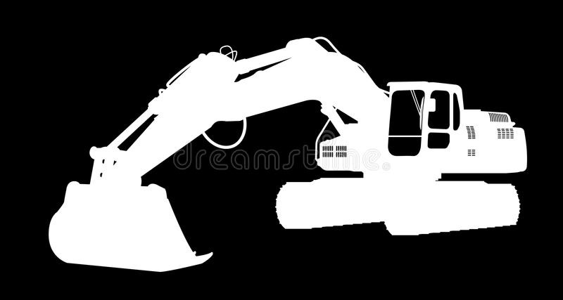 Silhouette the excavate. The silhouette of the excavate on a dark background vector illustration