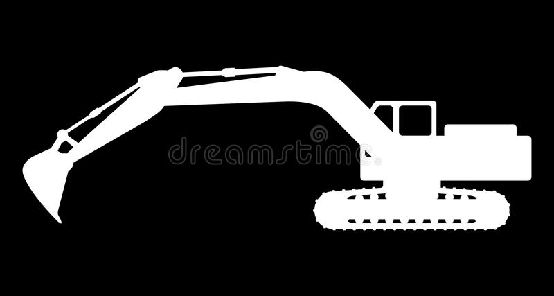 Silhouette the excavate. The silhouette of the excavate on a dark background royalty free illustration