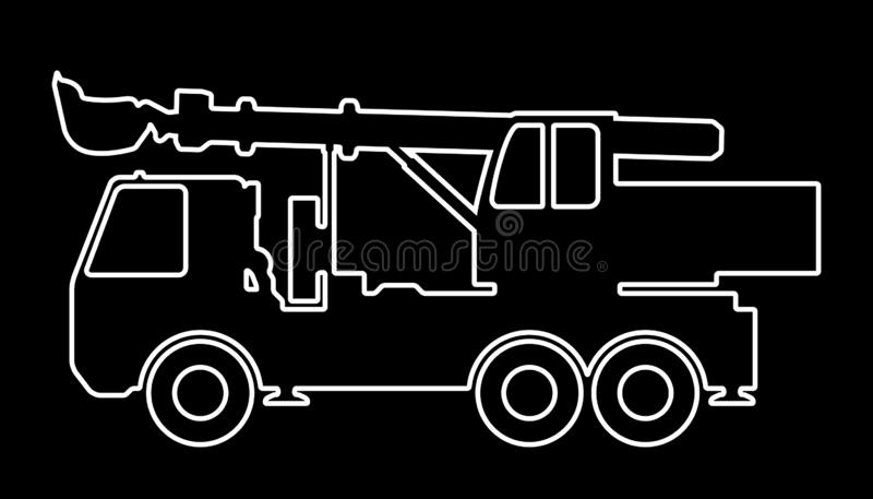 Silhouette the excavate. Vector illustration of the silhouette of an excavator at the base of the car stock illustration