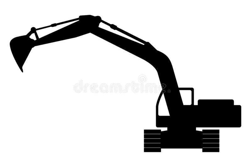 Silhouette the excavate. The silhouette of the excavate on a white background stock illustration