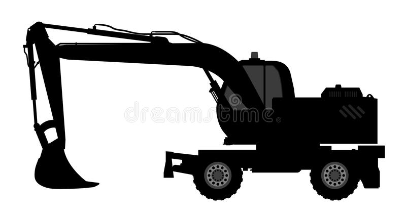 Silhouette the excavate. The silhouette of the excavate on a white background royalty free illustration