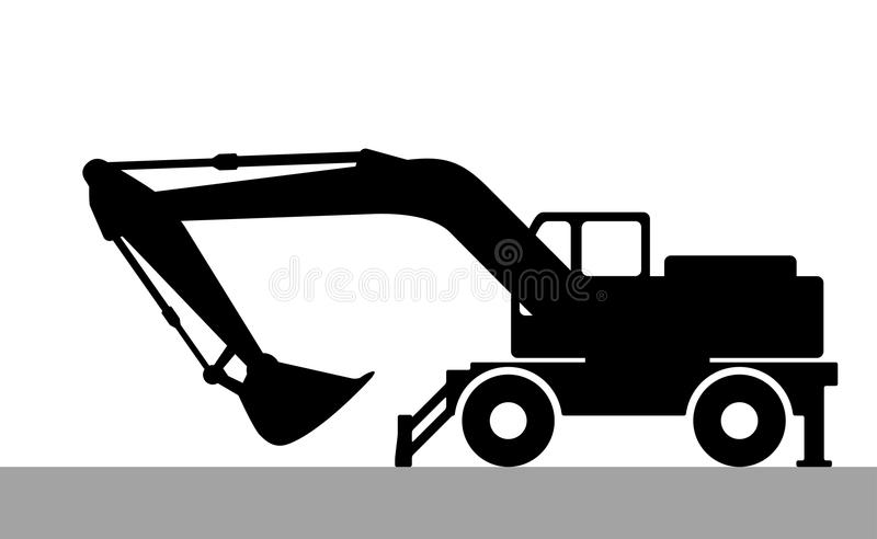 Silhouette the excavate. The silhouette of the excavate on a white background vector illustration