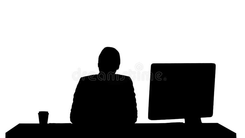 Silhouette Excited business woman talking on camera sitting at desk. vector illustration