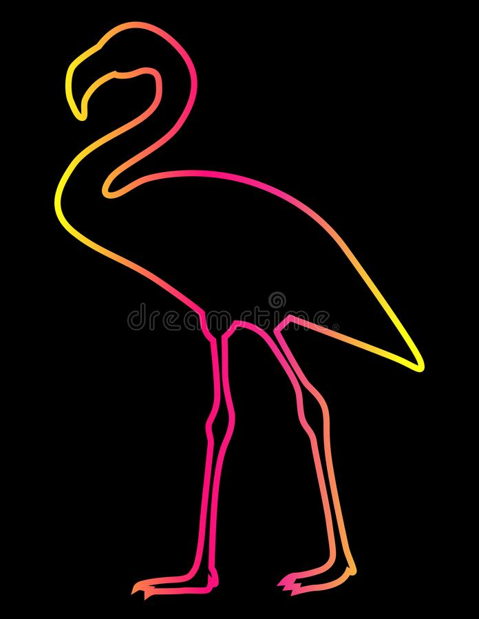 Silhouette of exotic bird pink flamingo. beautiful gradient sticker, close-up. Stylish contour silhouette of a pink flamingo, close-up. A cool idea for a brooch stock illustration