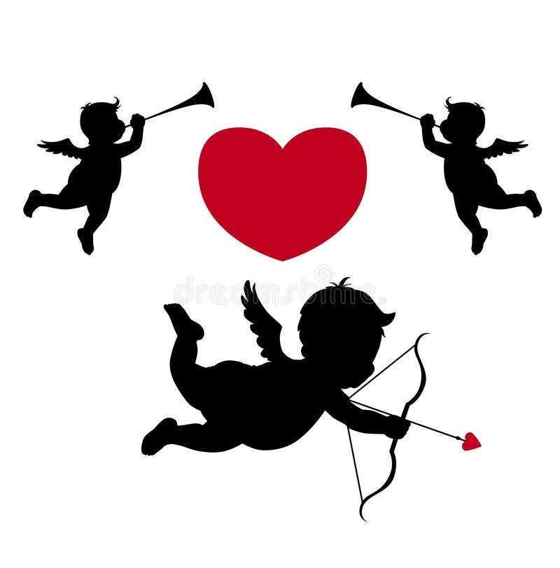 silhouette för ängelcupidmusiker stock illustrationer