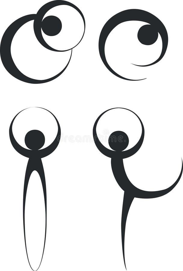 silhouette för 02 dansa folk vektor illustrationer