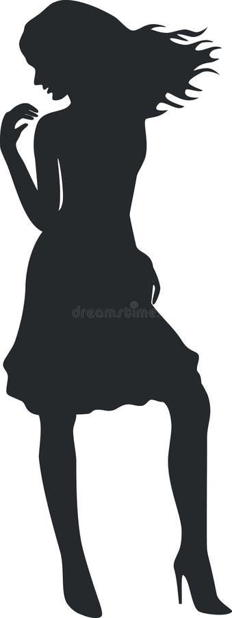 silhouette för 09 flicka vektor illustrationer