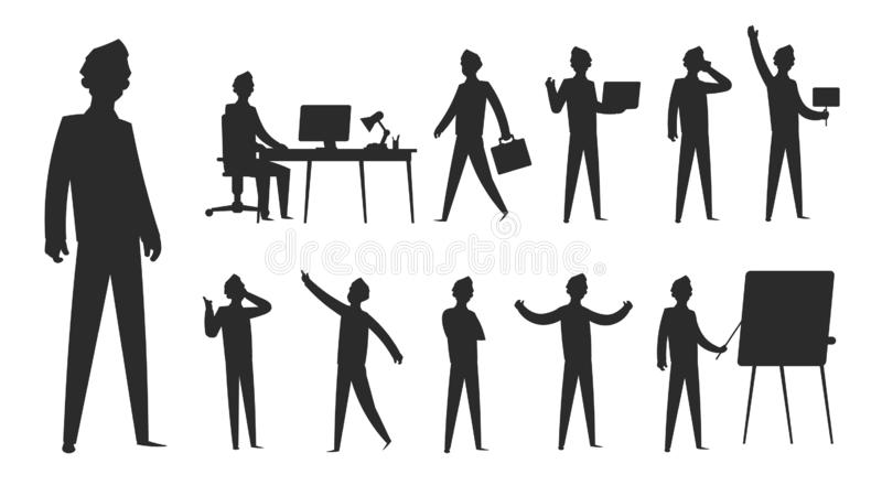 silhouette för affärsfolk Diagram diagram för man för affärsmanställning yrkesmässigt för kvinna för kontorsgrupplag Vektorkontur stock illustrationer