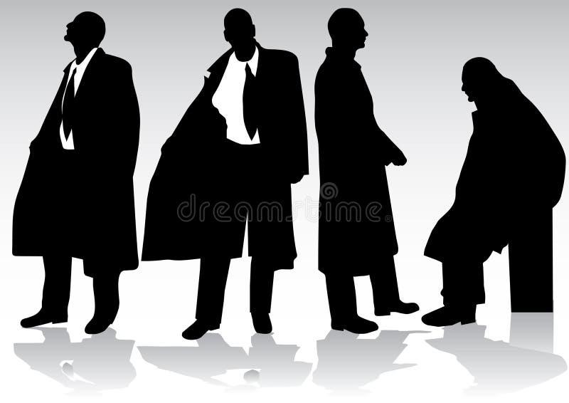 silhouette för affärsman royaltyfri illustrationer