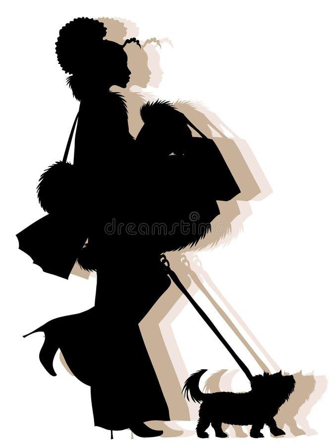 silhouette för afrikansk amerikanflickashopping vektor illustrationer