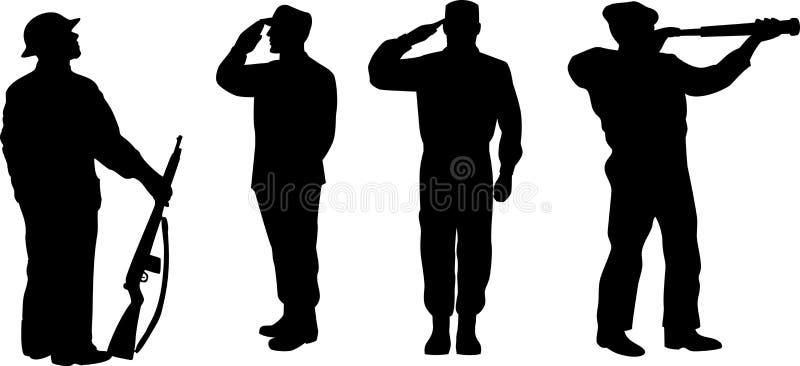 silhouette för armémanmilitär vektor illustrationer