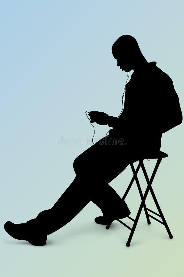 Silhouette För Bana För Ove För Man För Clippinghörlurar Lyssnande Till Arkivfoto