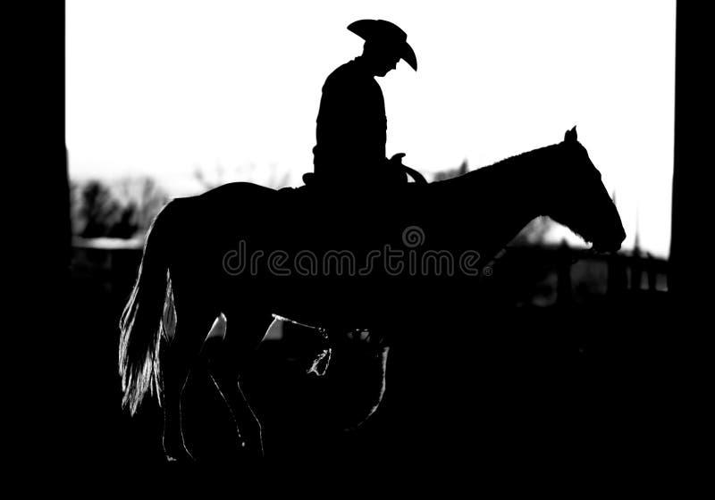silhouette för bw-cowboyhäst royaltyfria bilder