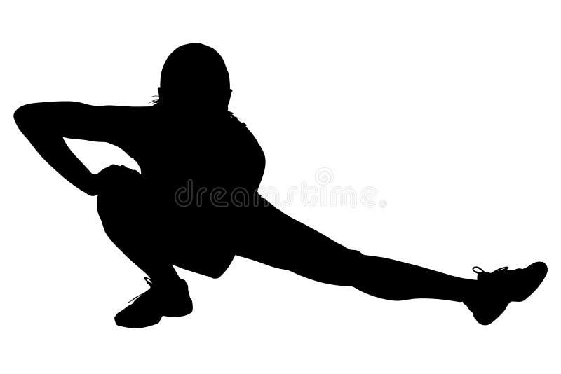 silhouette för clippingbenbana som sträcker kvinnan stock illustrationer