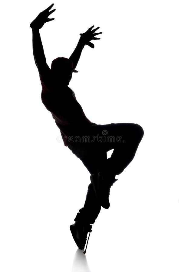 silhouette för dansarehöftflygtur royaltyfri bild
