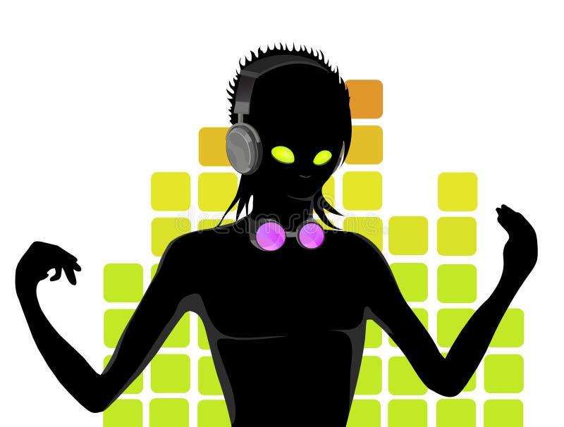 silhouette för dj s arkivbild