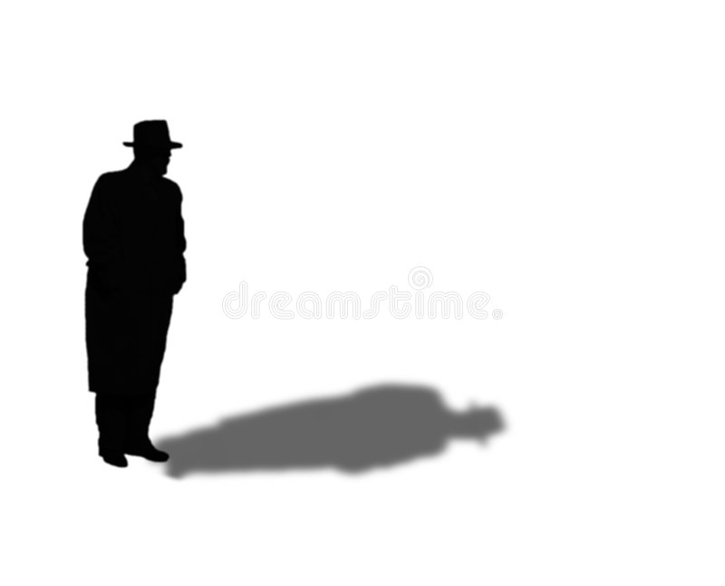 silhouette för fedoramanöverrock royaltyfri illustrationer