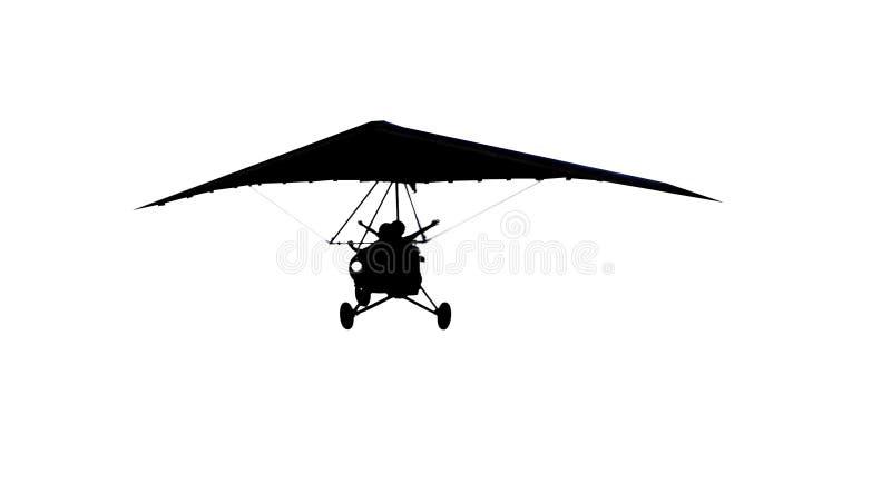 silhouette för glidflygplanhangmoto arkivbild