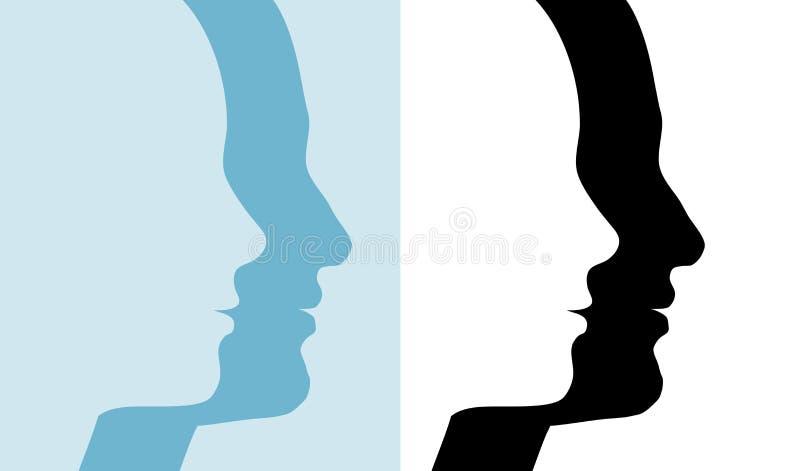silhouette för male profil för folk för parkvinnlig set royaltyfri illustrationer