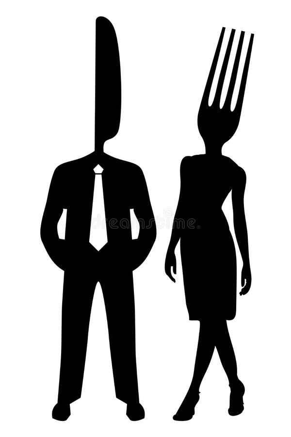 silhouette för pargaffelkniv stock illustrationer