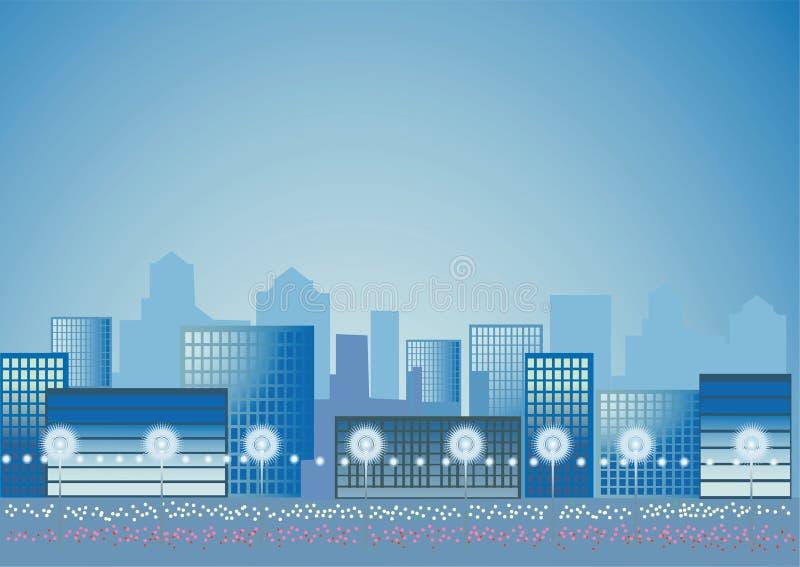 silhouette för stad nightly royaltyfri illustrationer