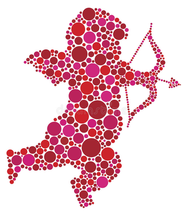 Silhouette för valentindagCupid med prickar royaltyfri illustrationer