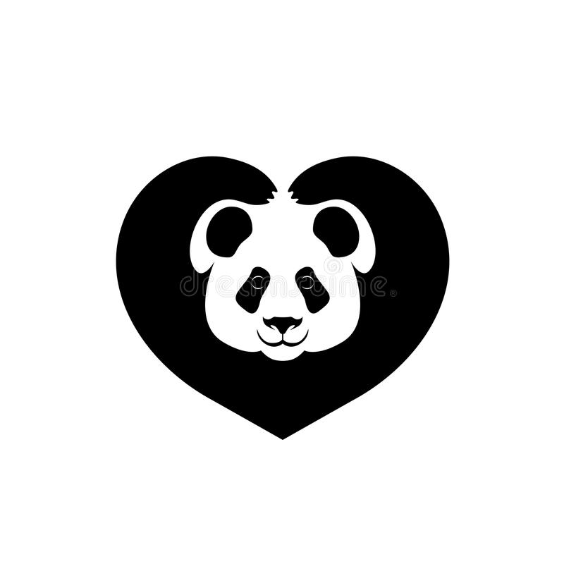 Silhouette of face of Panda paws shows sign heart vector illustration