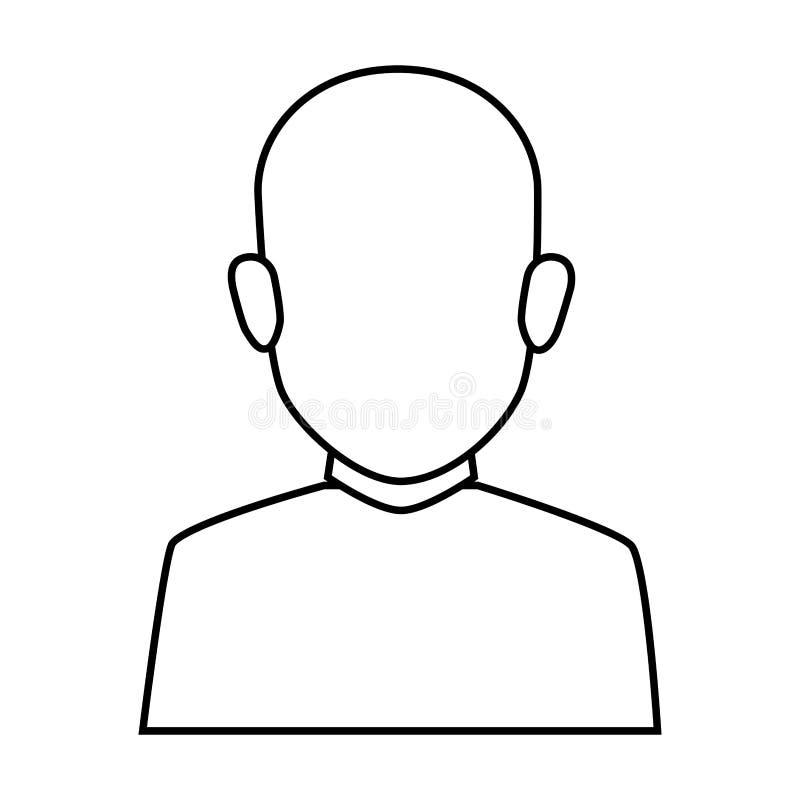 Silhouette faceless half body brunette bald man. Vector illustration royalty free illustration