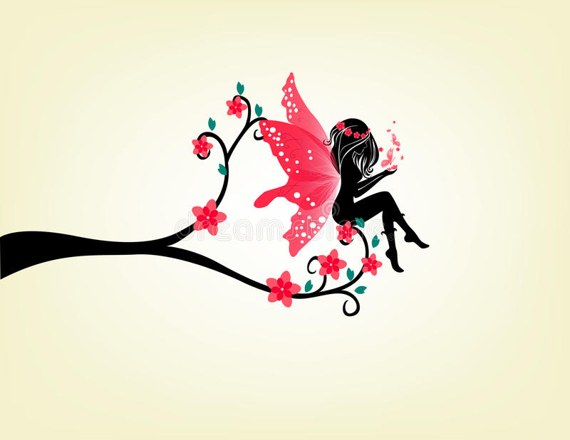 Silhouette Of A Fairy And Tree. Silhouette of fairy sit on tree branch royalty free illustration