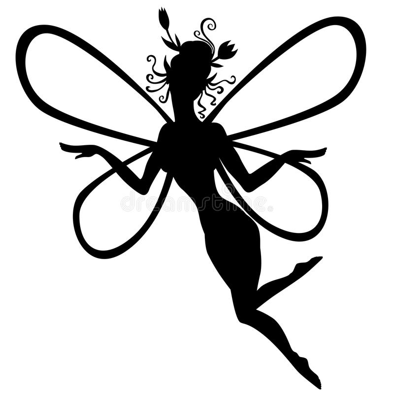 Silhouette fairy. Vector illustrations of silhouette fairy vector illustration