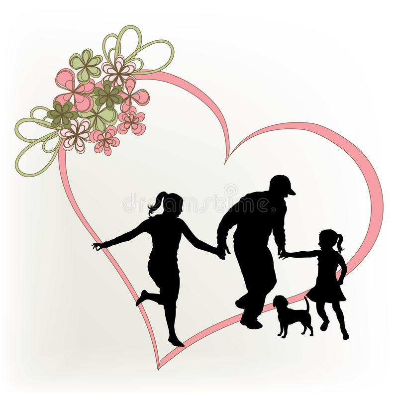Silhouette family royalty free illustration