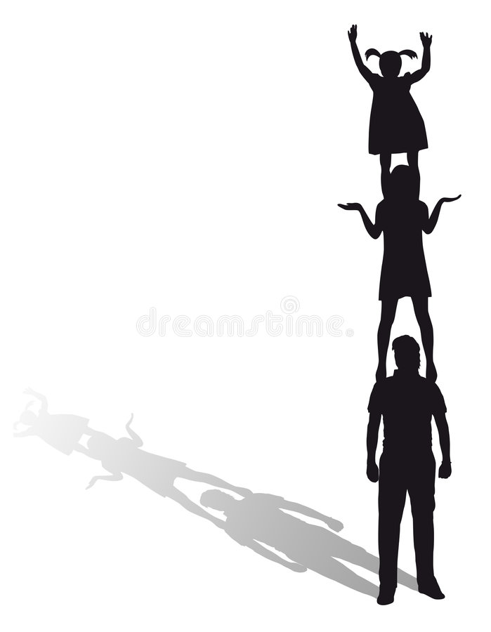 Silhouette of a family. Black silhouette of a family, idea, height, high, sport