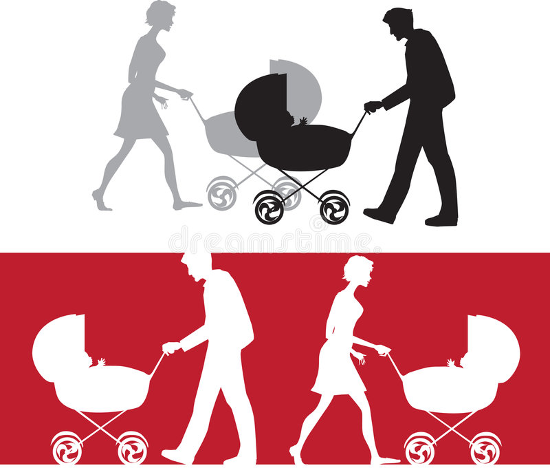 Silhouette of a family with a baby stroller royalty free illustration