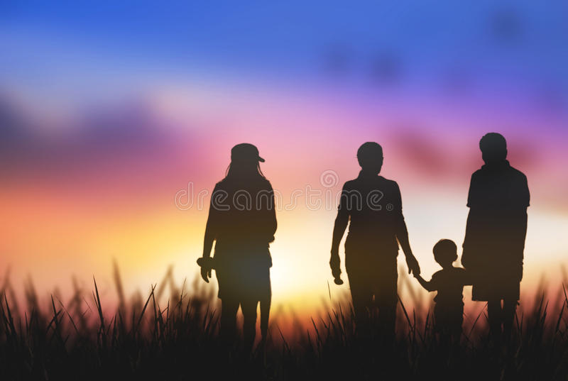 Silhouette of the family consists of families royalty free stock photo