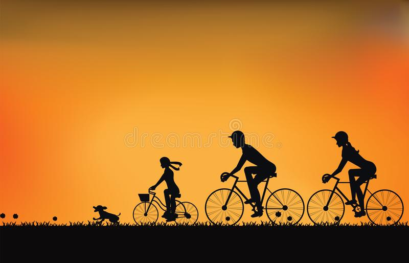 Silhouette of family driving bike with beautiful sky at sunset . stock illustration