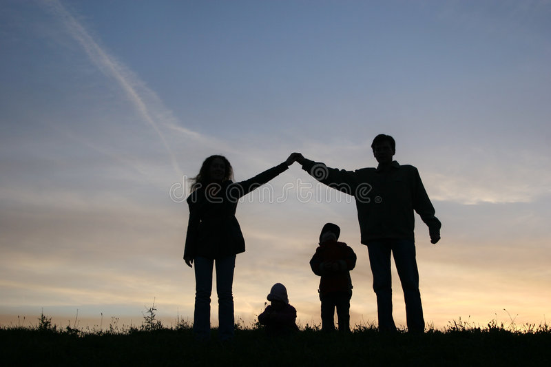 Silhouette family house royalty free stock image