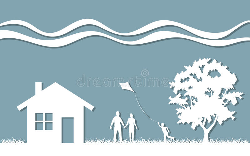 Silhouette family stock illustration