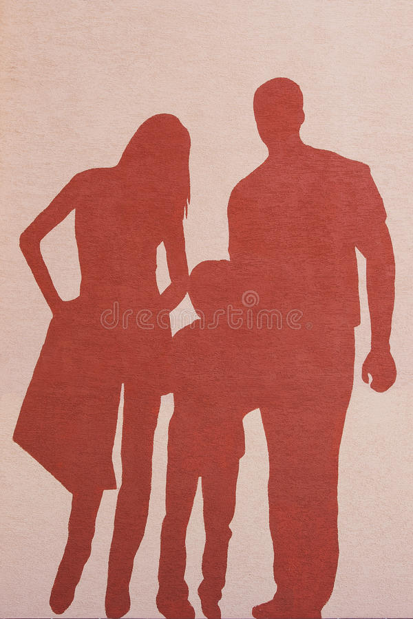 Silhouette of a family stock photos