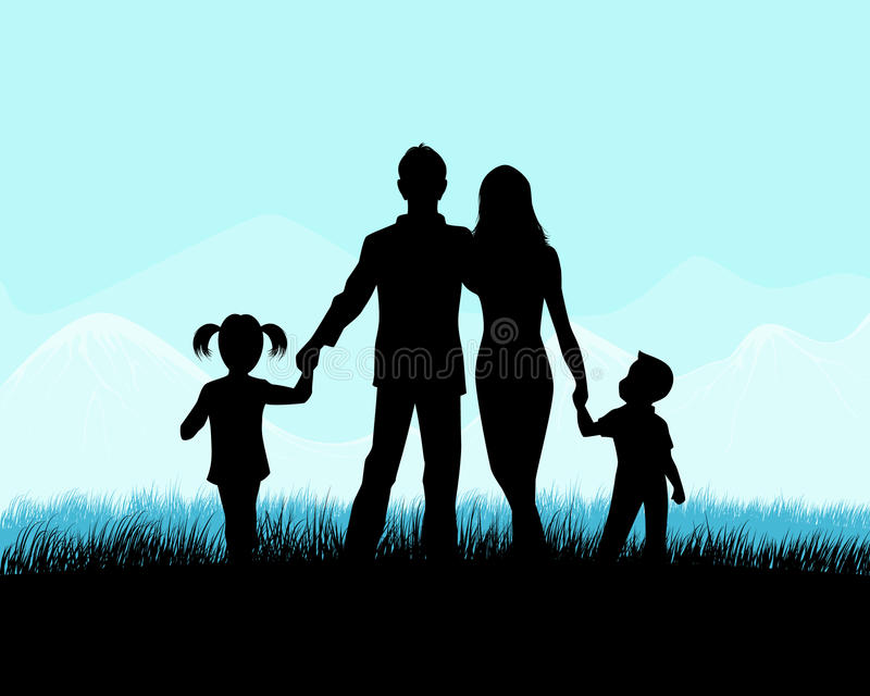 Silhouette of a family royalty free illustration
