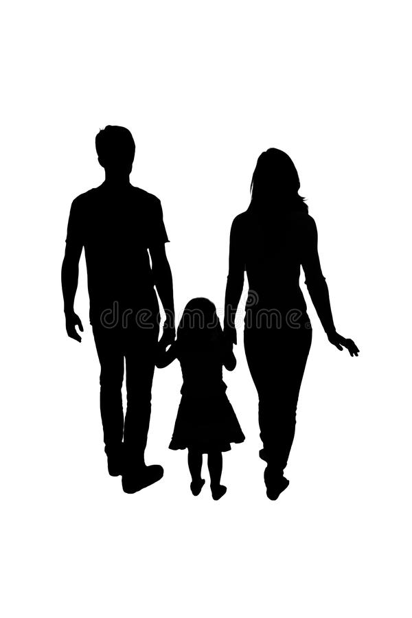 Silhouette family, woman, man, baby girl. Loving people holding. Hands. Isolated on white background royalty free stock image