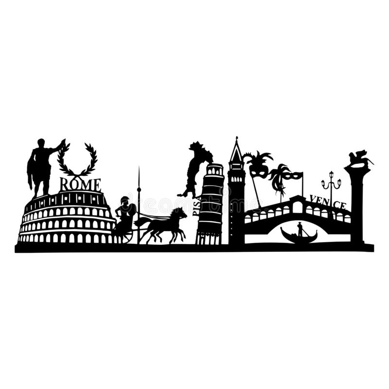 Silhouette of the famous sights in Italy - Pisa, Venice and Rome royalty free stock photography