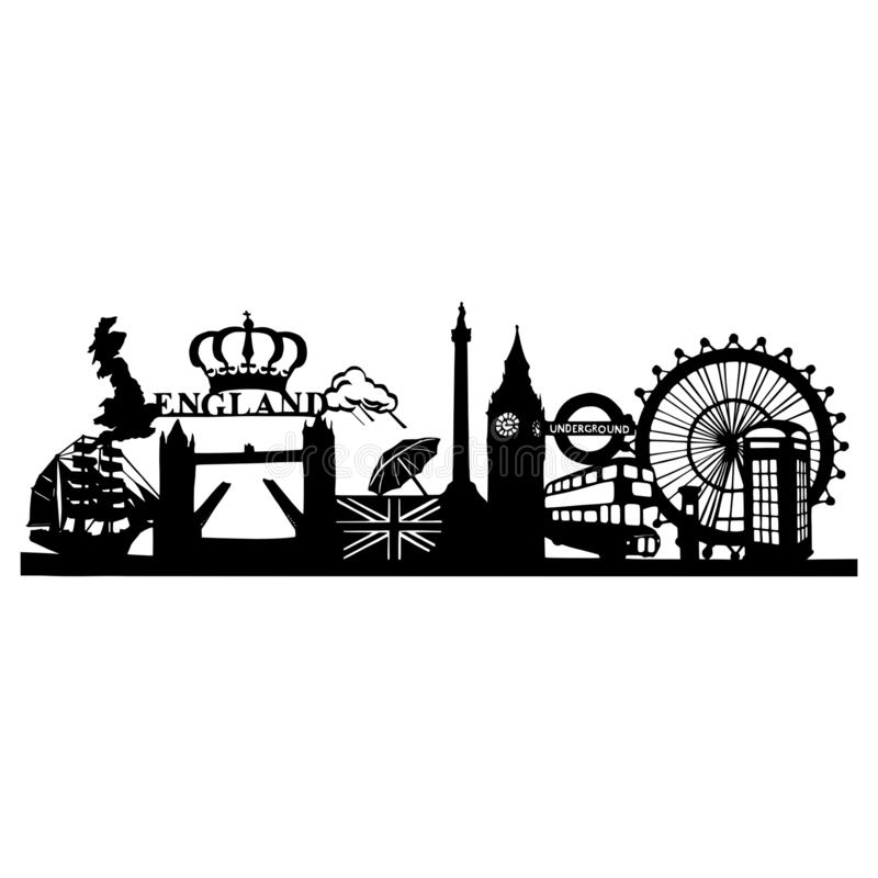 Silhouette of the famous sights in London - Cityscape of London with the Tower Birdge, Big Ben and London Eye royalty free stock photos