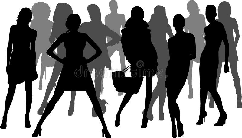 Silhouette fashion girls stock photos