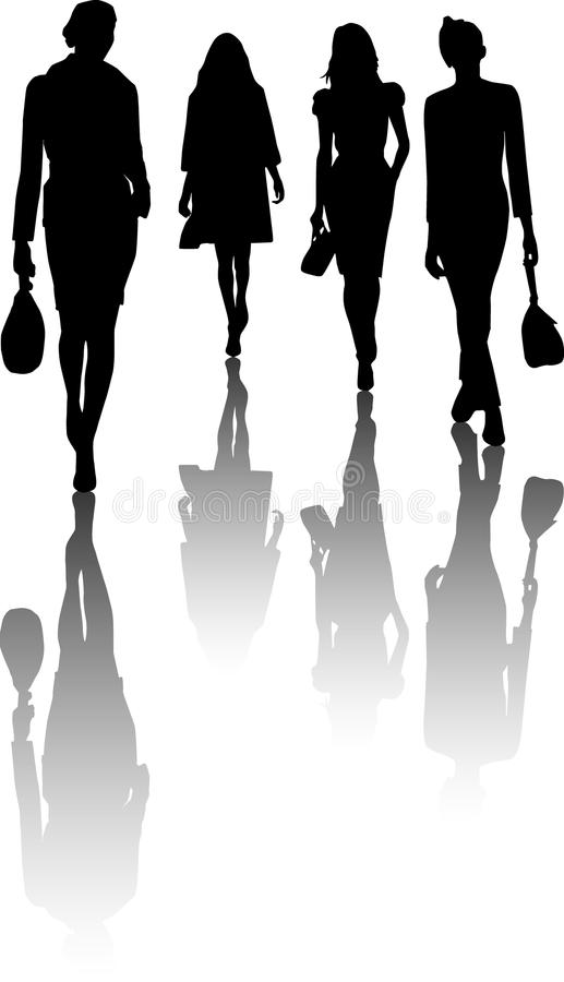 Silhouette fashion girls stock images