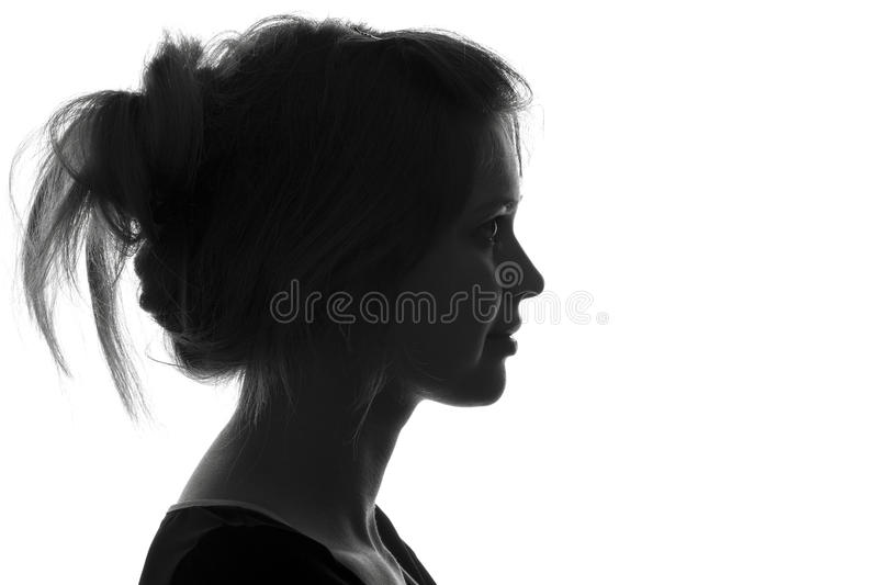 Silhouette fashion portrait of a woman royalty free stock photography
