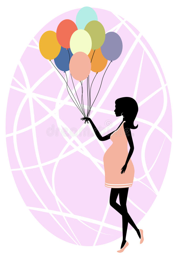 Silhouette of a fashionable pregnant woman. Vector illustration of rSilhouette of a fashionable pregnant woman with ballons royalty free illustration