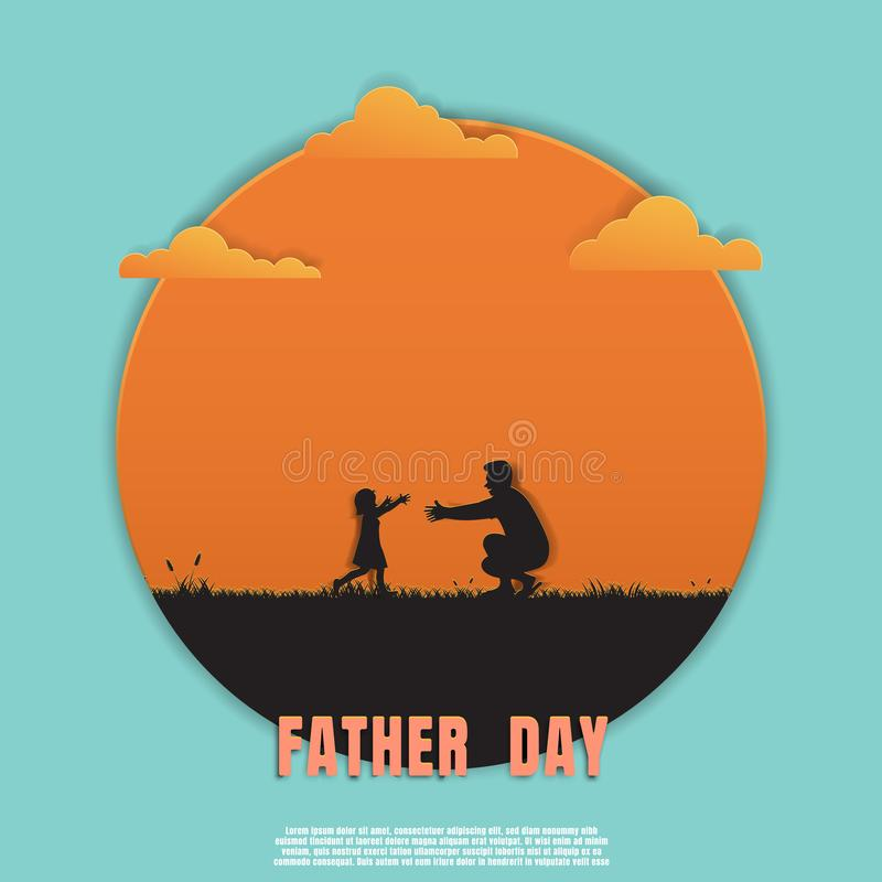 Silhouette father and daughter playing in meadow on sunset background royalty free illustration