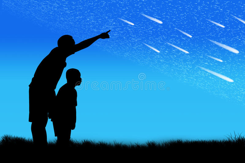 Silhouette of father point his son look at star. On the sky stock illustration