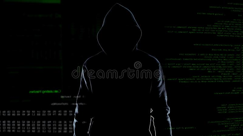 Silhouette of fearless male hacker standing on animated computer code background stock images